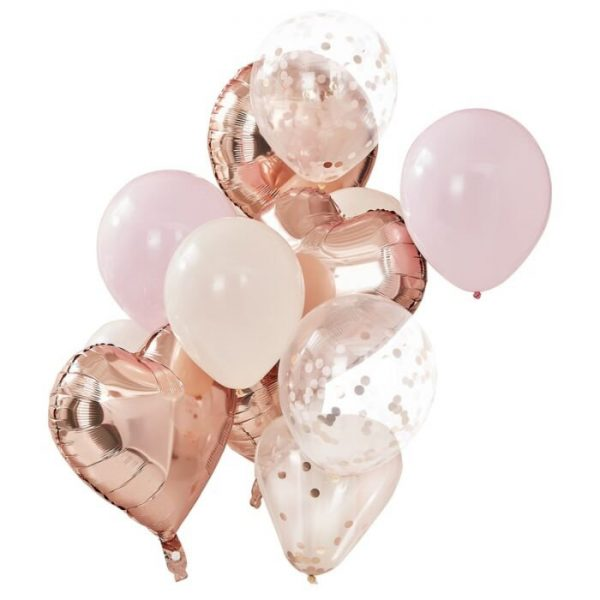 Rose gold and pink heart balloon bouquet