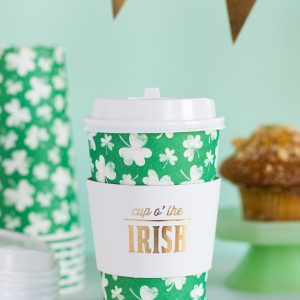 Shamrock Paper Coffee Cups with Cup o' the irish in gold foil on the ring