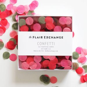 Tropical Confetti in coral red and olive green perfect for a bridal shower or fiesta party