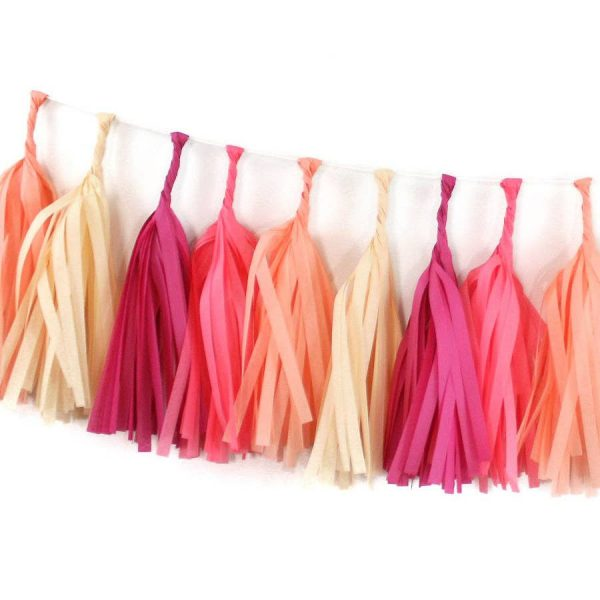 Boho Rainbow Tassel Garland in shades of hot pink coral and ivory