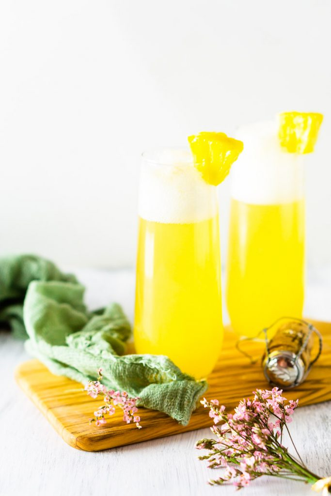 Pineapple mimosa for a tropical bridal shower theme