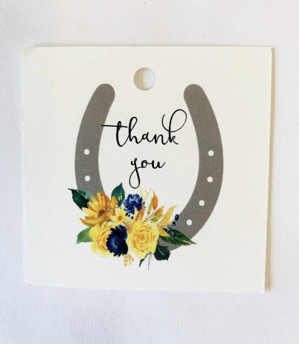 """Navy and Blush Roses Kentucky Derby Party """"thank you"""" party favor tags"""