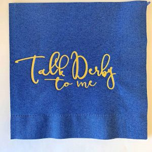 Navy Talk Derby to Me Luncheon Napkins with Gold foil words