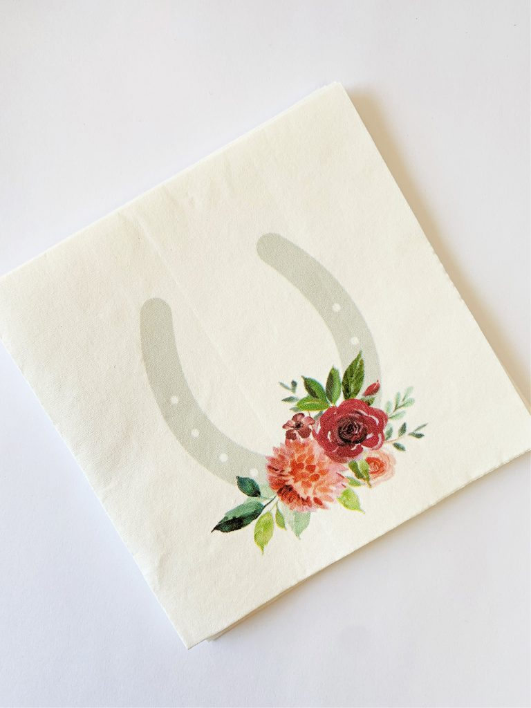Kentucky Derby Cocktail Napkins with a grey horse show with coral and plum watercolor roses by EnFete LLC