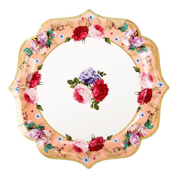 Floral Tea Party Serving Platters in shades of coral pink and red