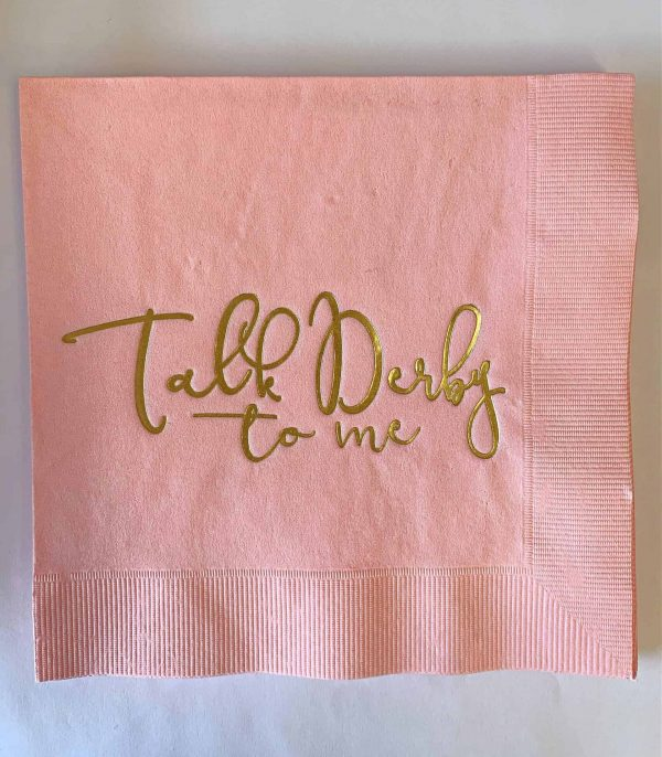 Talk Derby to me luncheon napkins in soft pink with gold foil writing - for a Kentucky Derby Bridal Shower or party