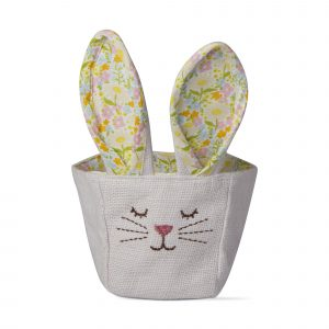 Cloth Easter Basket with floral bunny ears and a face