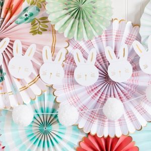 Easter Bunny garland in white with cute faces and gold foil accents