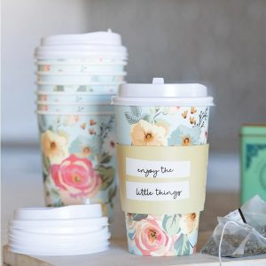Floral Paper Coffee Cups