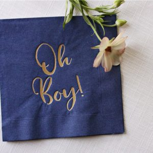 Oh Boy Napkins with Gold Lettering Navy Napkin