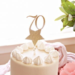 Gold Star 70th Birthday Cake Topper in Gold Sparkle