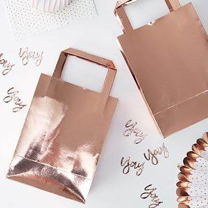 Rose Gold Foil Bridal Shower Favor Bags