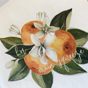 She Found Her main squeeze bridal shower napkins with clementine oranges on these white luncheon napkins