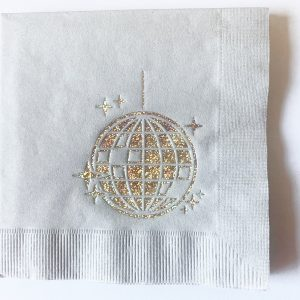 Disco Ball Cocktail Napkins with elegant iridescent foil on a silver cocktail napkins