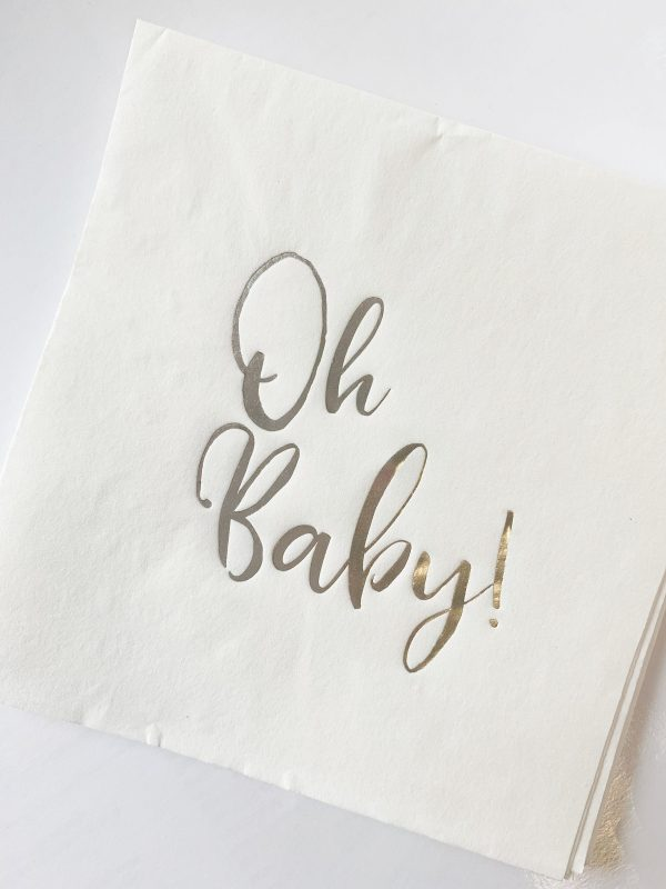 Silver Oh Baby Luncheon Napkins with an elegant Oh Baby script in silver foil.