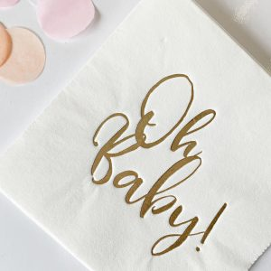 Oh Baby Cocktail Napkins in white with gold foil script