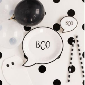 Boo plates white and black for Halloween