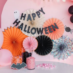 Happy Halloween Black Glitter Banner