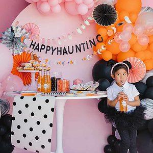 Happy Haunting black glitter Halloween Banner