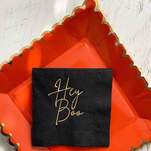 Hey Boo Halloween Cockatil napkins - sophisticated gold script on black