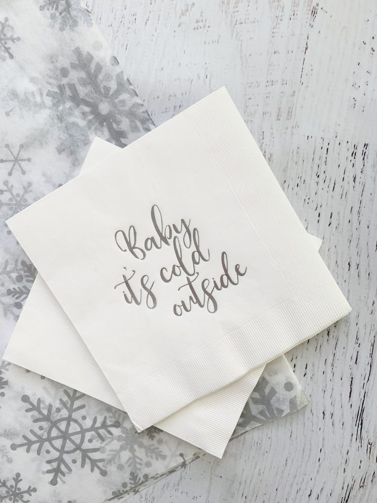 Baby It's Cold Outside Silver Foil Baby Shower Napkins Luncheon Size EnFete Original Design Copyrighted 2021