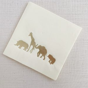 Safari Animal Cocktail Napkins - Gold and Ivory Sophisticated Baby shower
