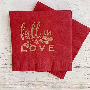 Fall in Love Burgundy Bridal Shower or Wedding Napkins