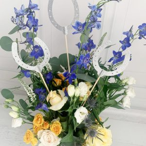 Silver Horse Shoe Centerpiece picks for Derby Party or Bridal Shower