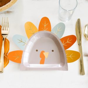 Turkey plates for Thanksgiving with gold accents perfect for a kids table
