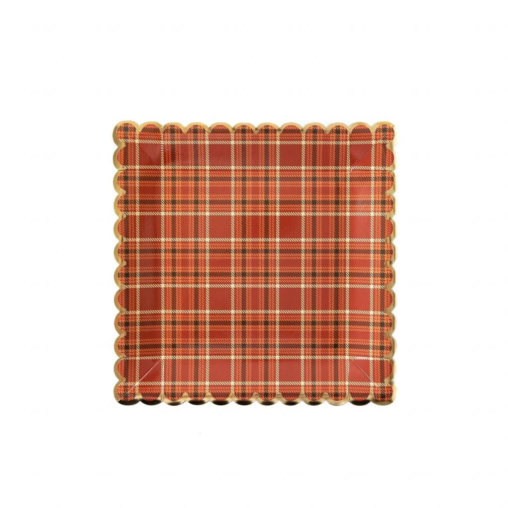 Autumn Plaid Plates perfect for Thanksgiving, Friendsgiving or a Fall in Love Themed Bridal Shower