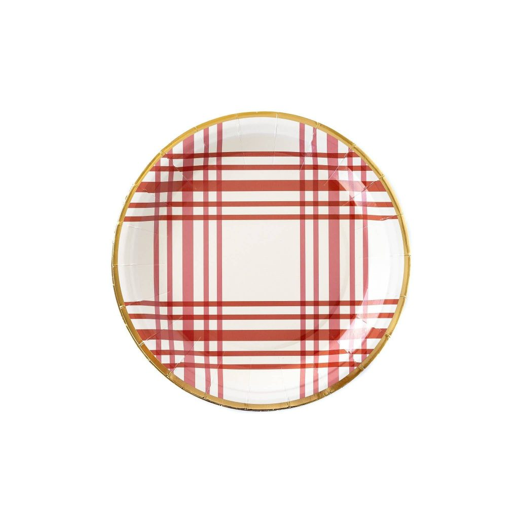 Burgundy Red Plaid Plates, perfect for Thanksgiving, Friendsgiving, or a Fall in Love Autumn Bridal Shower.  Lovely gold foil edges on these round plates.