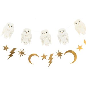 Owl Moon Star and Lightening Bolt Harry Potter Party Banner