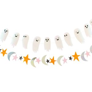 Halloween Ghost banner with star and moon accepts and iridescent sheen