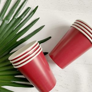 Burgundy Paper Hot and Cold Cups
