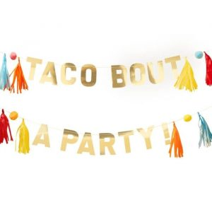Taco Bout a Party Gold and Tassel Banner