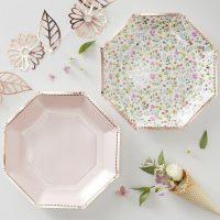 Rose Gold Floral Paper Plates